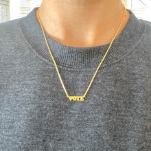Load image into Gallery viewer, 18k Yellow Gold Vermeil Micro Mini VOTE Nameplate Necklace