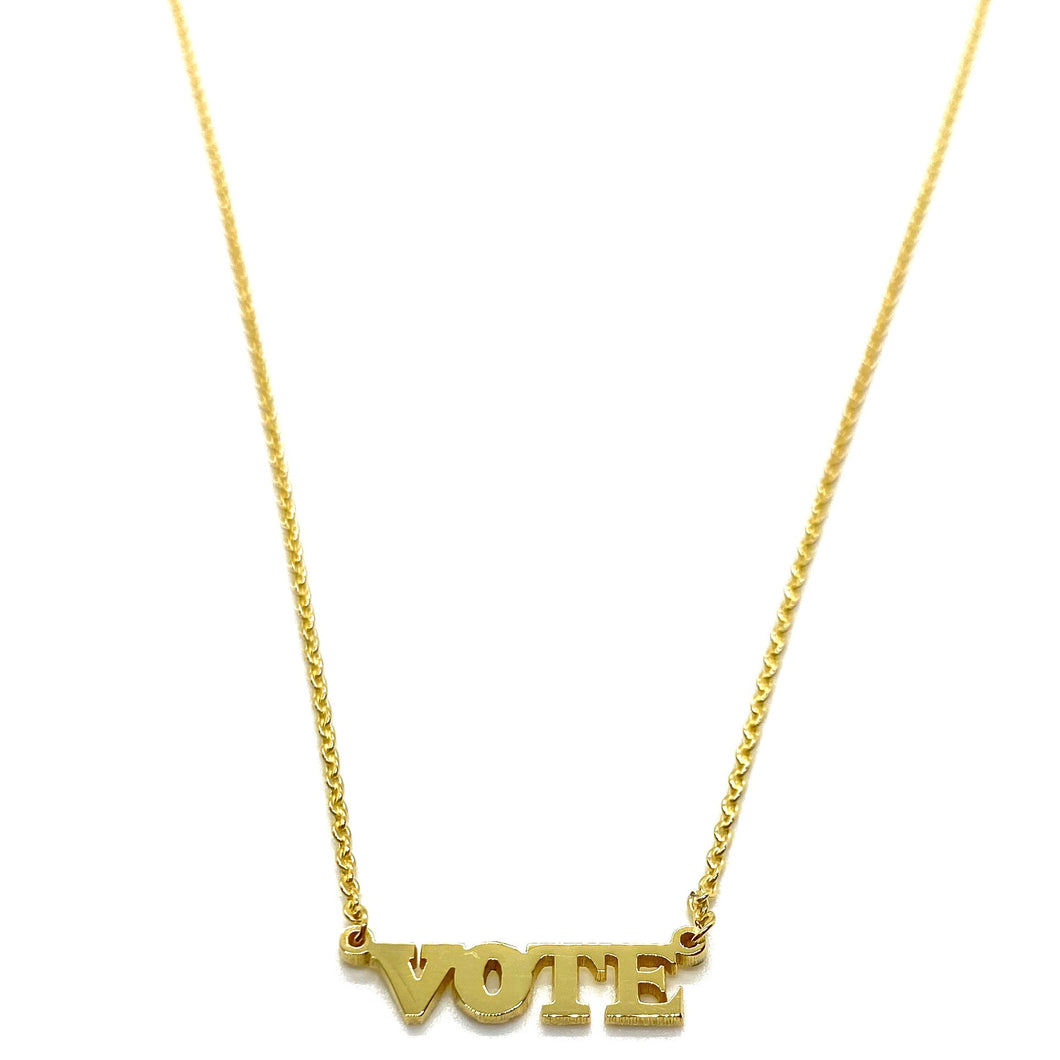 18k Yellow Gold Vermeil Micro Mini VOTE Nameplate Necklace