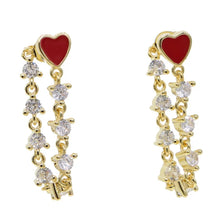 Load image into Gallery viewer, 18k Gold Plated Enamel Millie Heart Earrings