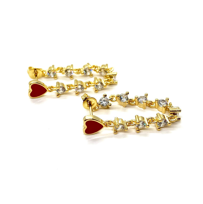 18k Gold Plated Enamel Millie Heart Earrings