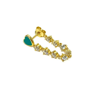 18k-Yellow-Gold-Vermeil-Millie-Enamel-Heart-And-Cubic-Zirconia-Stone-Chain-Studs-Turquoise