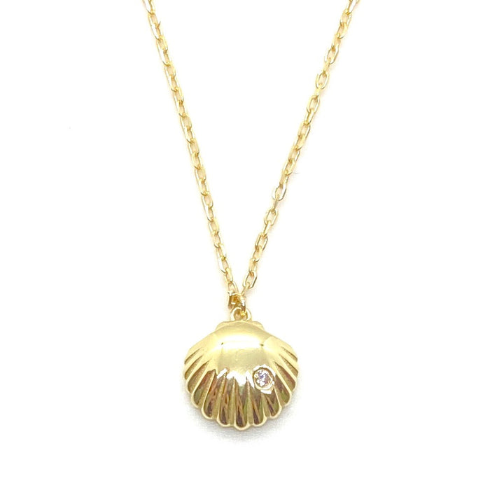 18k Yellow Gold Vermeil Mini Gold Fan Shell Charm Necklace