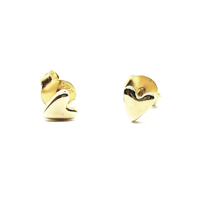 18k Yellow Gold Vermeil Mini Gold Heart Studs