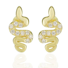 Load image into Gallery viewer, 18k-Yellow-Gold-Vermeil-Mini-Pave-Center-Snake-Studs