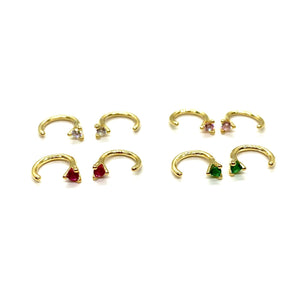 18k Yellow Gold Vermeil Mini Stone Claw Hoop Earrings