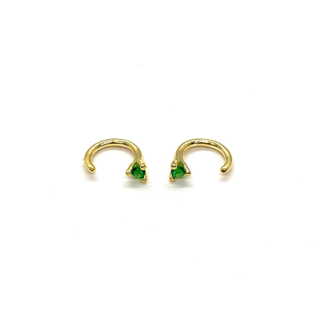 18k Yellow Gold Vermeil Mini Stone Claw Hoop Earrings - Emerald Green Cubic Zirconia