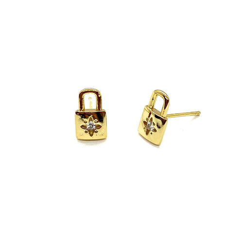 18k-Yellow-Gold-Plated-Mini-Cubic-Zirconia-Lock-Studs