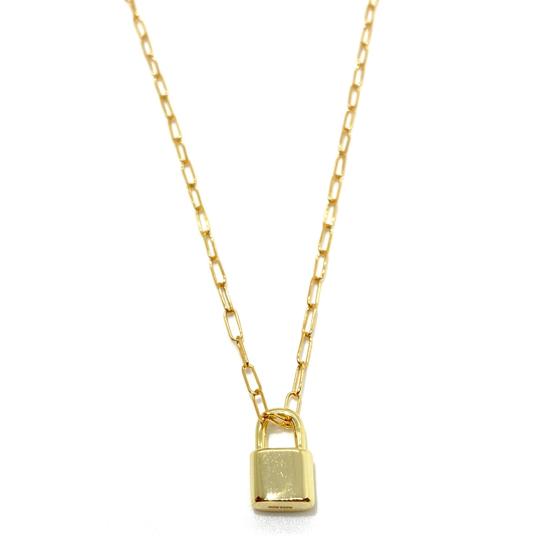 18k-Yellow-Gold-Vermeil-Mini-Gold-Lock-And-Paper-Clip-Chain-Necklace