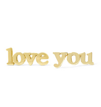 Load image into Gallery viewer, 18k-Yellow-Gold-Vermeil-Mini-Gold-Love-You-Studs