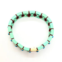 Load image into Gallery viewer, Suki Enamel Tile Stretch Bracelet - Mint & Maroon