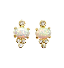 Load image into Gallery viewer, 18k Gold Vermeil Opal Mira Stud Earrings
