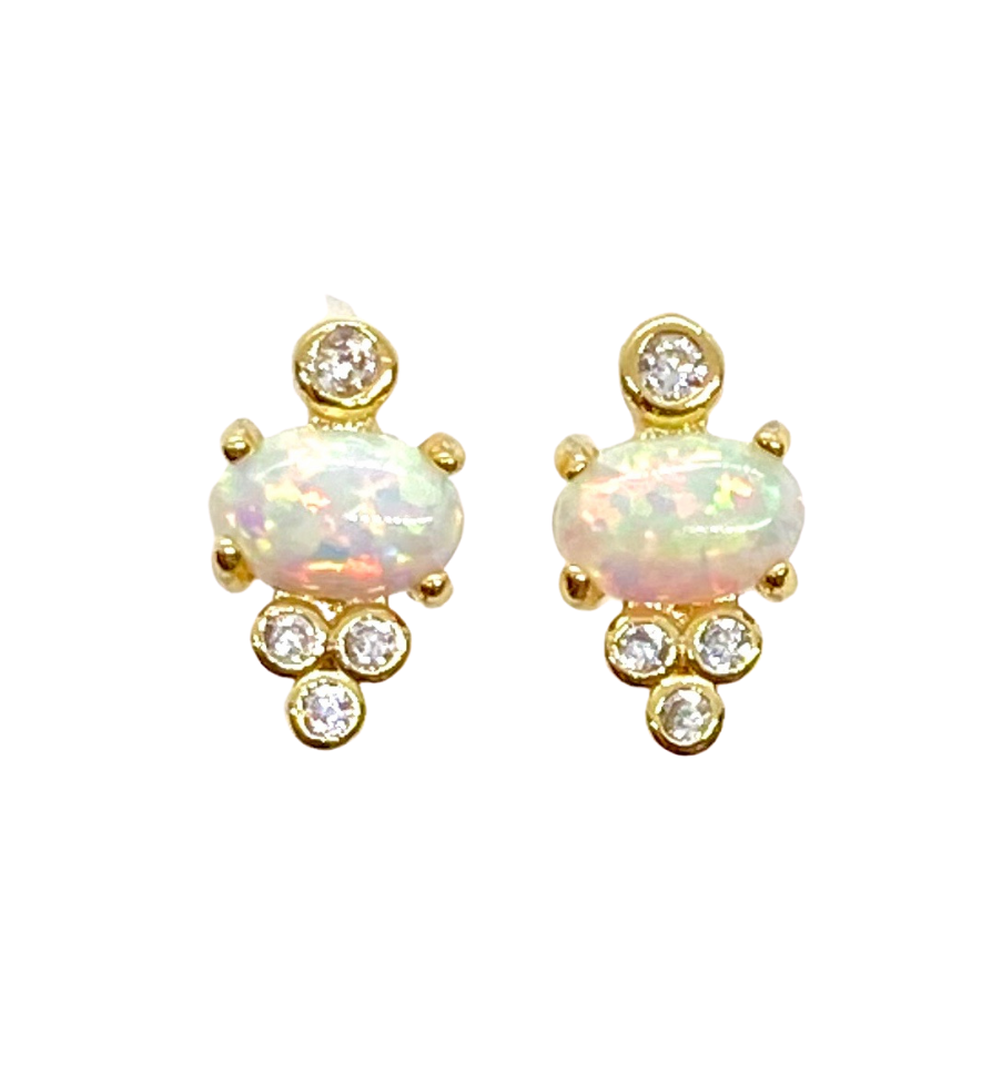 18k Gold Vermeil Opal Mira Stud Earrings