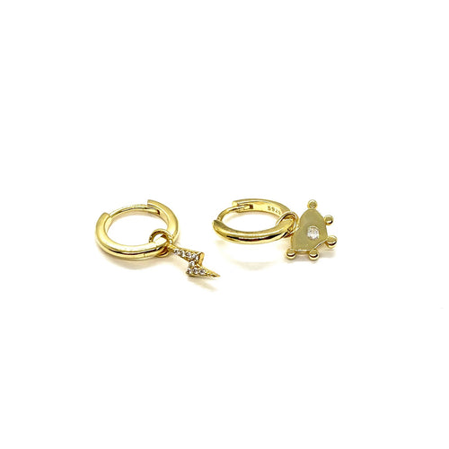 18k Yellow Gold Vermeil Mix-Matched Gold Charm Huggies - Heart & Lightning Bolt