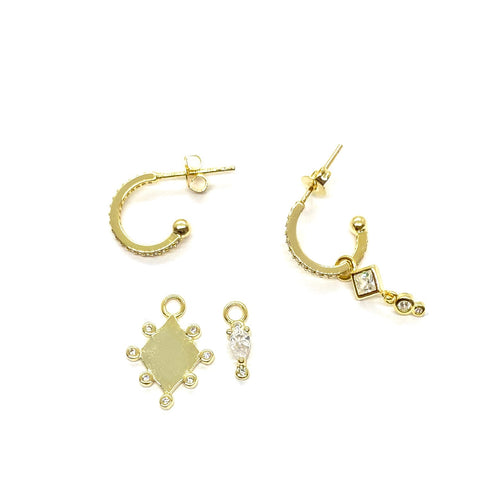 18k-Yellow-Gold-Plated-Mix-Matched-Pave-Cubic-Zirconia-Charm-Stud-Hoops