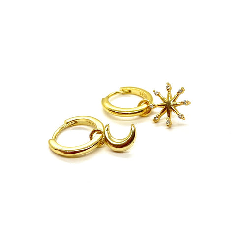 18k-Yellow-Gold-Vermeil-Mix-Matched-Gold-Charm-Huggies-Crescent-Moon-And-Sunburst