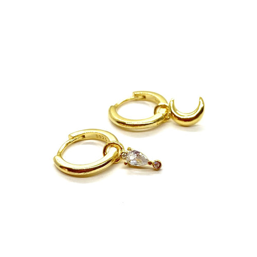 18k-Yellow-Gold-Vermeil-Mix-Matched-Gold-Charm-Huggies-Pear-Stone-And-Crescent-Moon