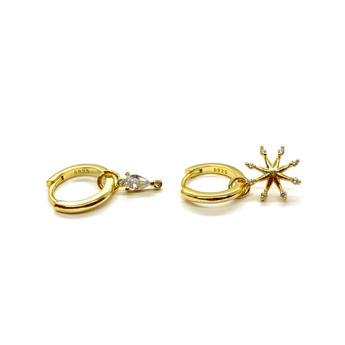 18k-Yellow-Gold-Vermeil-Mix-Matched-Gold-Charm-Huggies-Pear-Stone-And-Sunburst
