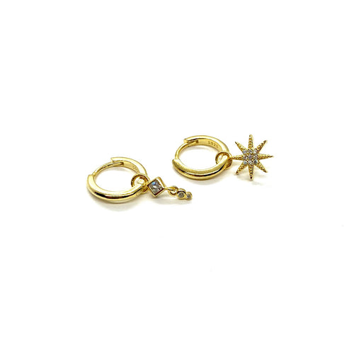 18k-Yellow-Gold-Vermeil-Mix-Matched-Gold-Charm-Huggies-Triple-Stone-And-Pave-Sunburst