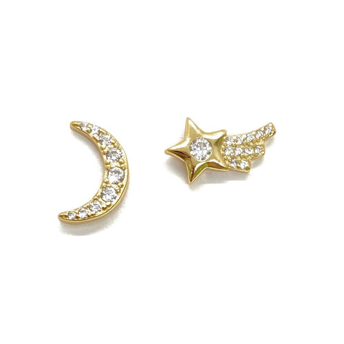18k-Yellow-Gold-Vermeil-Mix-Matched-Pave-Shooting-Star-And-Crescent-Moon-Studs