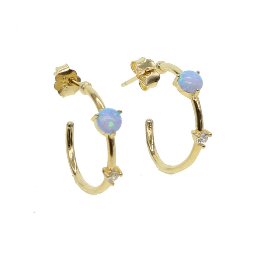 18k Yellow Gold Vermeil Molly Opal Hoops