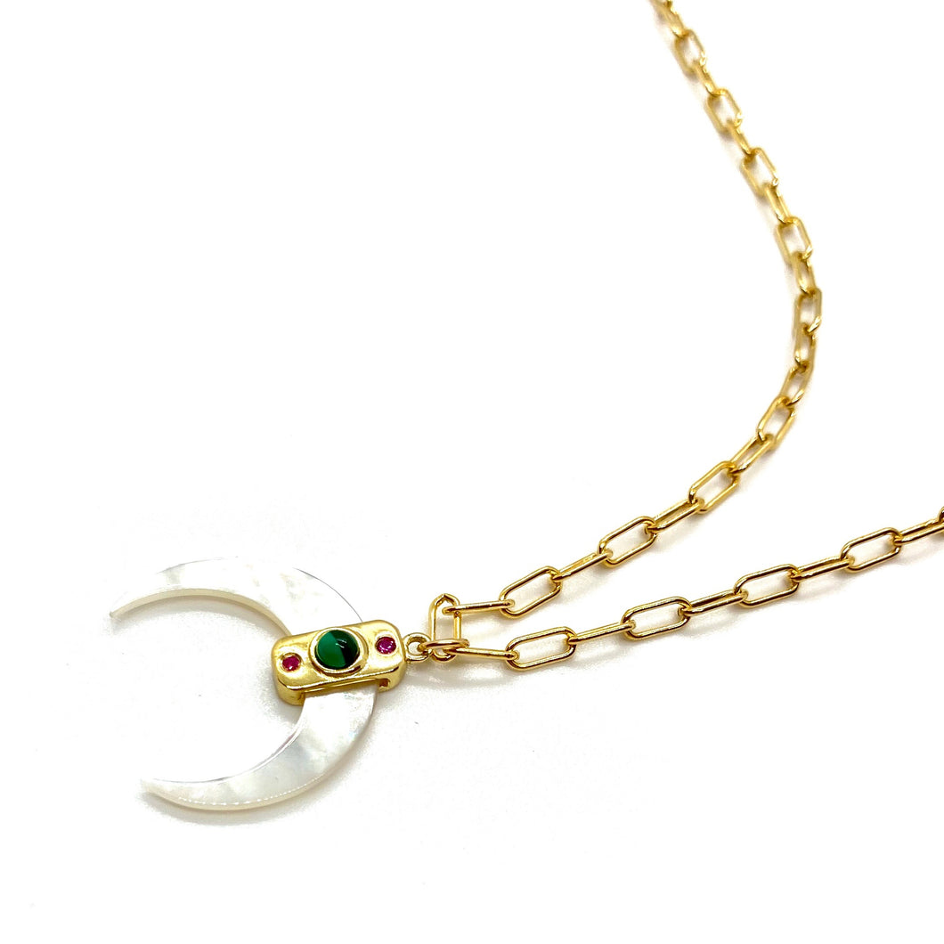 18k-Yellow-Gold-Vermeil-Mother-Of-Pearl-Double-Horn-Charm-Necklace