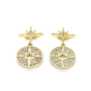 18k Gold Plated Pave Myla Starburst Stud Earrings