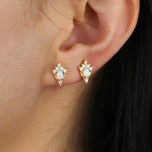 Load image into Gallery viewer, 18k Gold Vermeil Opal Pave Crown Studs