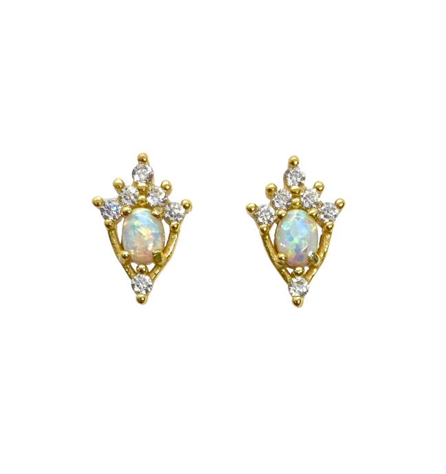 18k Yellow Gold Plated Opal Crown Studs