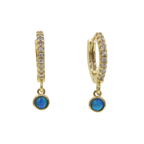 18K Yellow Gold Plated Opal Drop Huggies