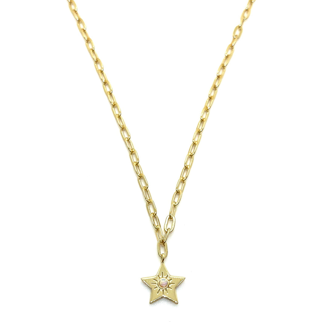 18k-Yellow-Gold-Vermeil-Opal-Star-Charm-And-Paper-Clip-Chain-Necklace