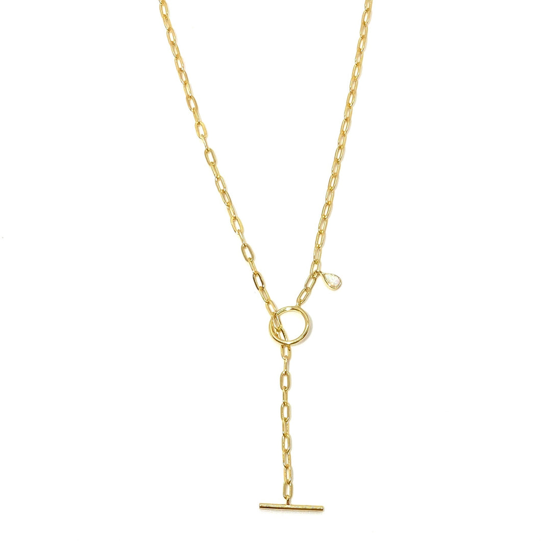 18k-Yellow-Gold-Vermeil-Paper-Clip-Chain-Toggle-And-Pear-Opal-Lariat-Necklace