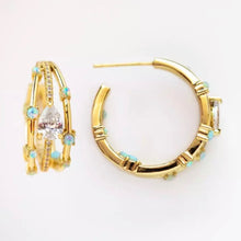 Load image into Gallery viewer, 18k Yellow Gold Plated Opal Parker Hoops