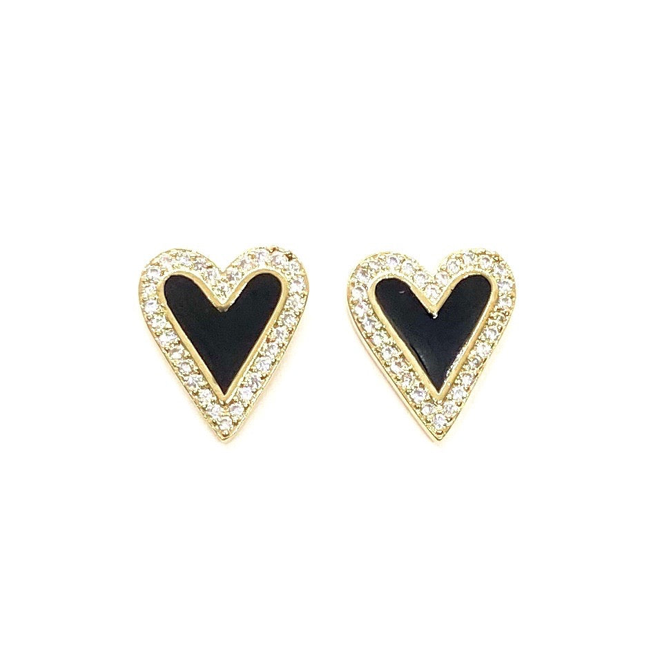 18k Yellow Gold Plated Pave & Enamel Heart Studs - Black