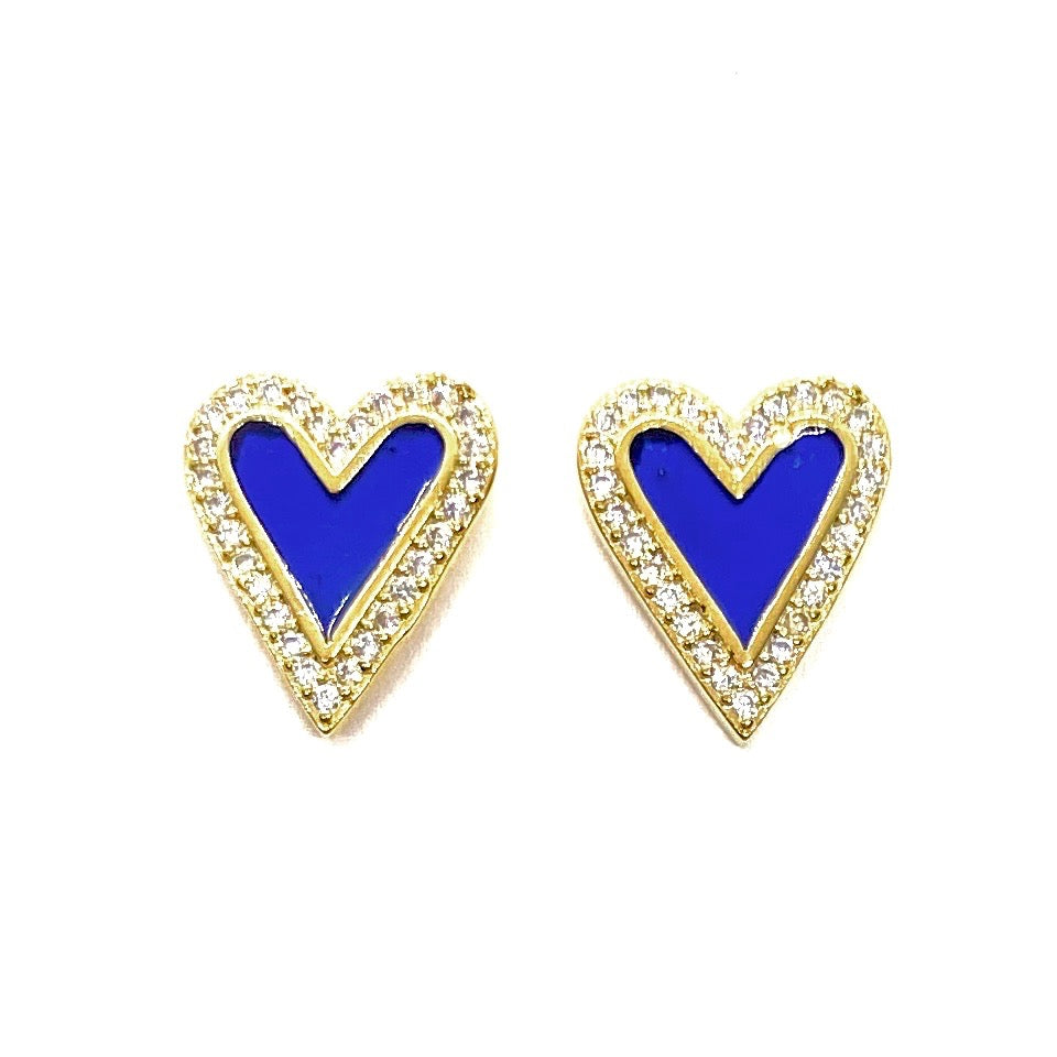 18k Yellow Gold Plated Pave & Enamel Heart Studs - Cobalt Blue