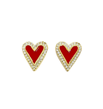 Load image into Gallery viewer, Pave & Enamel Heart Studs (Cobalt Blue)