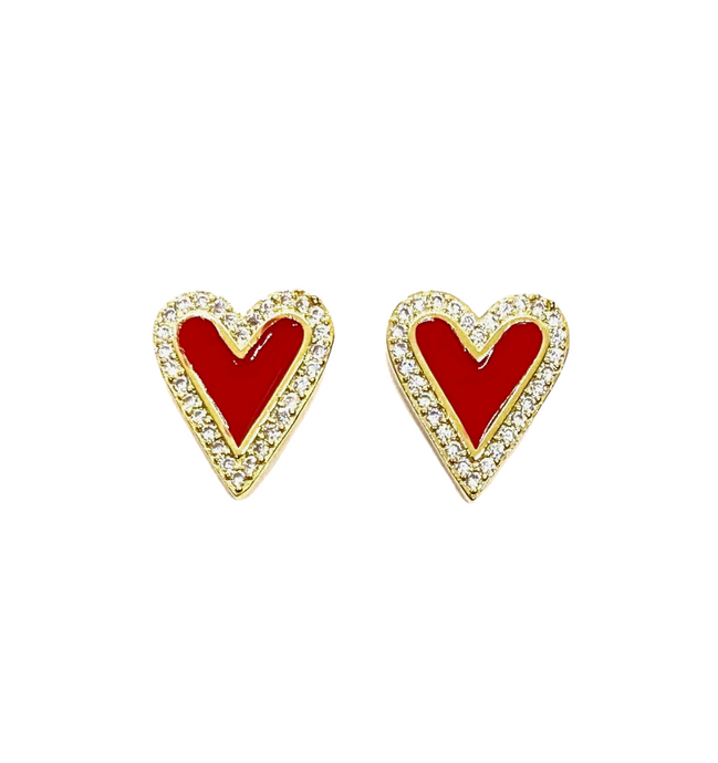 18k Yellow Gold Plated Pave & Enamel Heart Studs - Red