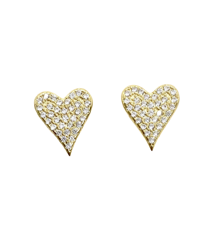 18k Yellow Gold Vermeil Evelyn Pave Heart Studs