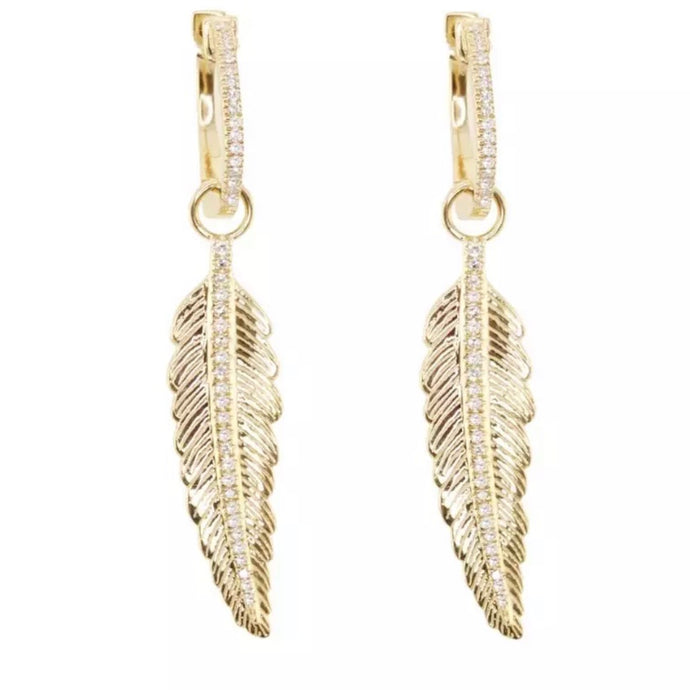 18k Yellow Gold Plated Pave Feather Huggie Earrings