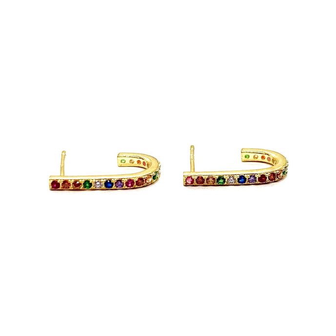 18k Yellow Gold Vermeil Pave Rainbow Bar Lobe Studs