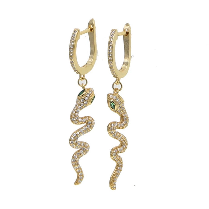18k Yellow Gold Plated Pave Snake Charm Huggie-Earrings