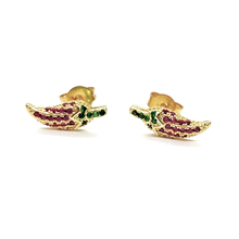 Load image into Gallery viewer, 18k-Yellow-Gold-Plated-Ruby-And-Emerald-Green-Cubic-Zirconia-Pave-Chili-Pepper-Studs