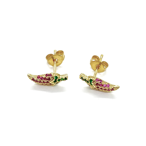 18k-Yellow-Gold-Plated-Ruby-And-Emerald-Green-Cubic-Zirconia-Pave-Chili-Pepper-Studs