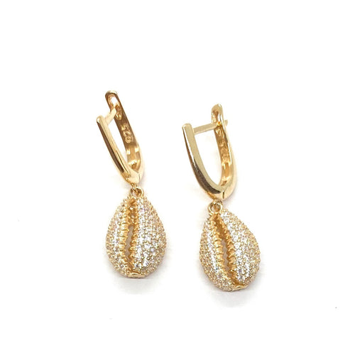 18k-Yellow-Gold-Vermeil-Pave-Cubic-Zirconia-Cowrie-Shell-Huggies