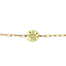 Load image into Gallery viewer, 18k-Yellow-Gold-Vermeil-Pave-Snake-Coin-Charm-And-Paper-Clip-Chain-Necklace
