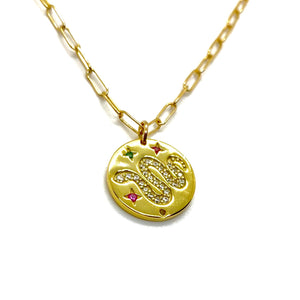 18k-Yellow-Gold-Vermeil-Pave-Snake-Coin-Charm-And-Paper-Clip-Chain-Necklace