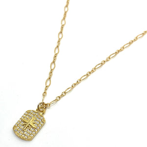 18k-Yellow-Gold-Vermeil-Pave-Cubic-Zirconia-Starburst-Tag-Charm-Necklace