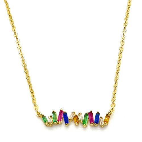18k Yellow Gold Vermeil Rainbow Baguette Bar Necklace