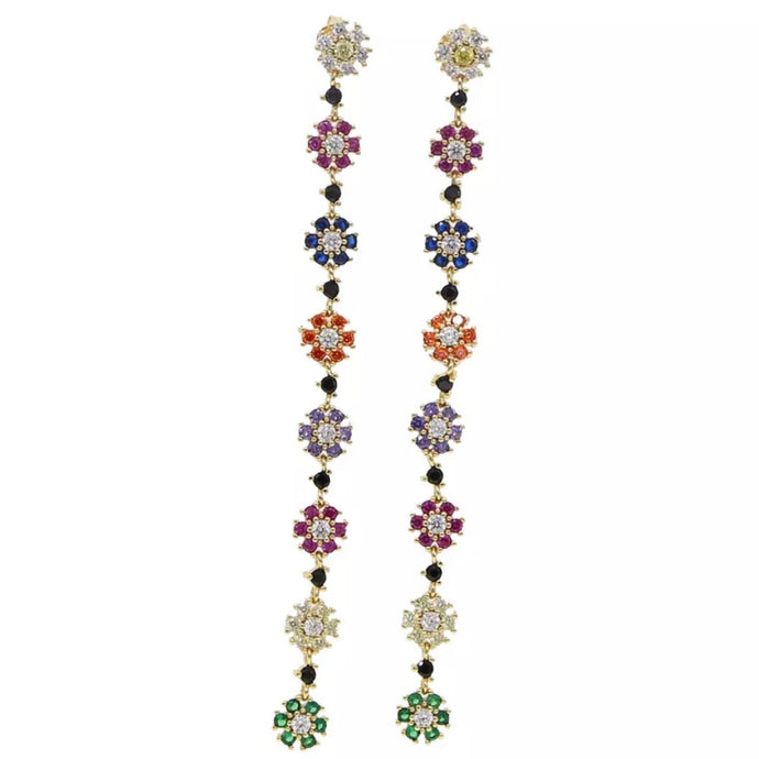 18k yellow gold rainbow flower shoulder duster earrings