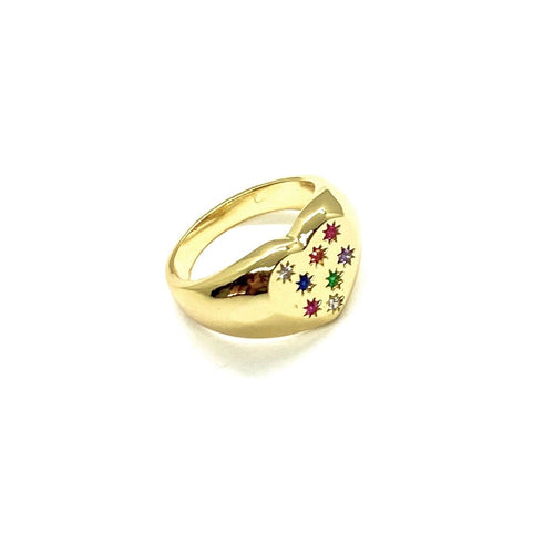 18k Yellow Gold Plated Rainbow Heart Signet Ring