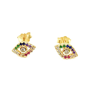 18k Yellow Gold Vermeil Pave Rainbow Evil Eye Studs